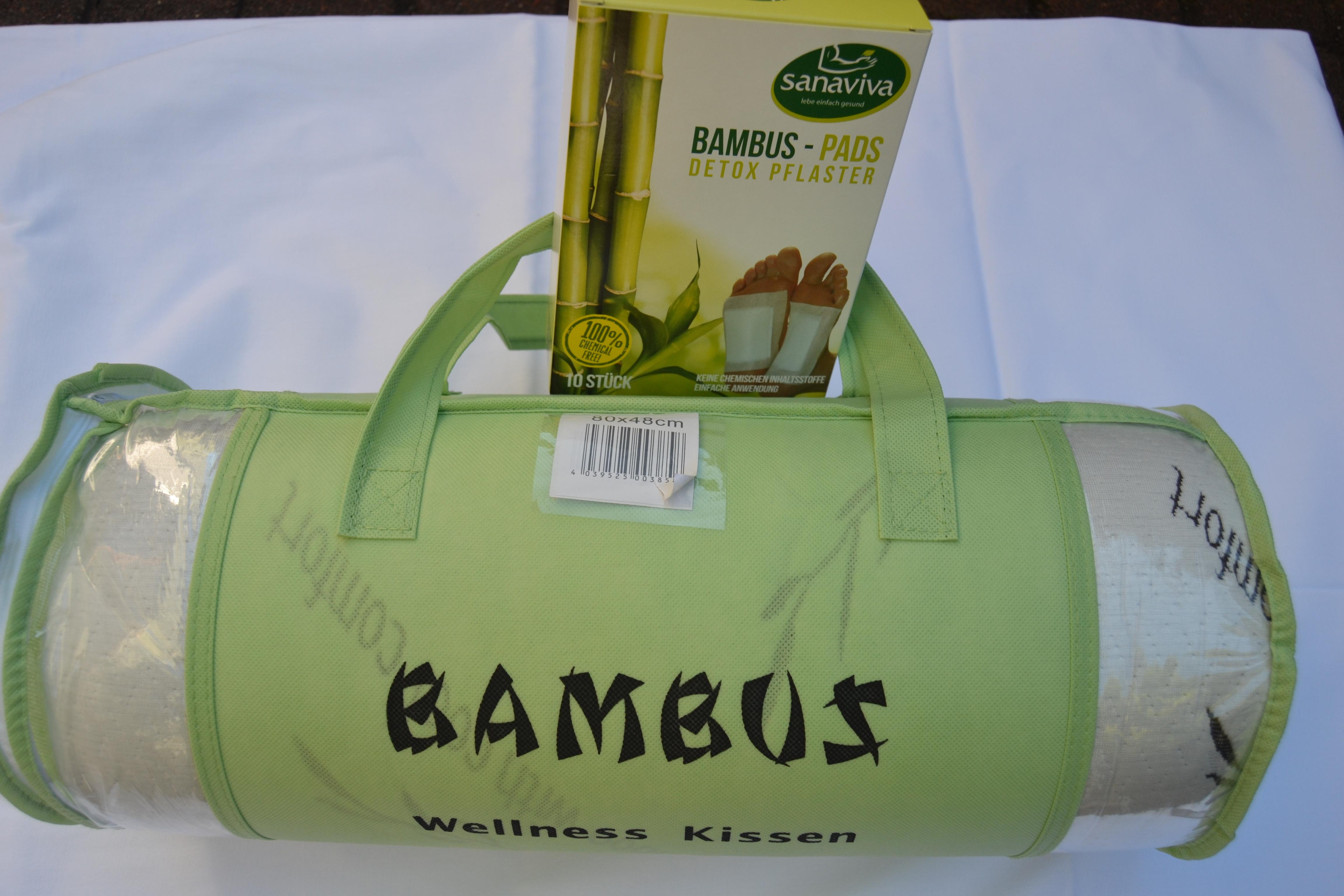 bambuskissen-wellnesskissen mit bambus fusspads, detox